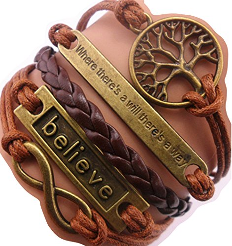 Ac Union Handmade Where There's a Will There's a Way Tree for Life Believe Charm Friendship Gift Leather Bracelet