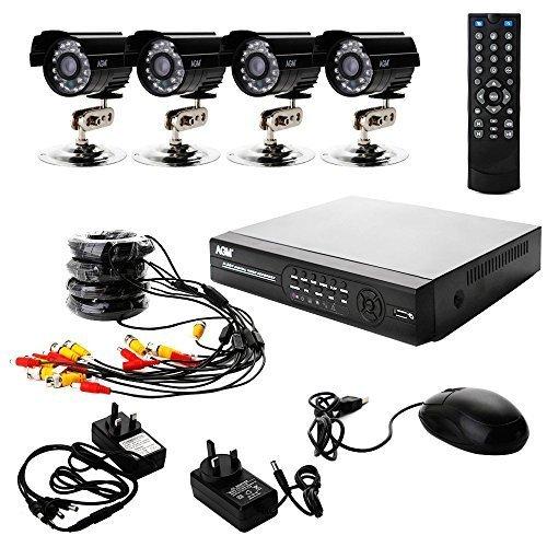 AGM 1080P Esterno / Interno Casa IDVR Camera Kit 4 Canali | Sicurezza Sistema di CCTV Video - Quattro 800TVL IR Telecamere Bullet, IR LED di Visione Notturna, Vista e Controllo di Remoto, Sorveglianza Mobile