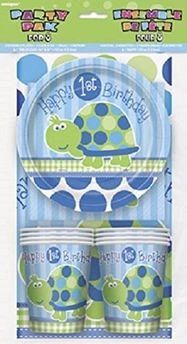 NANA'S PARTY Lot de 8 tortues pour 1er anniversaire (garçon) (assiettes, gobelets, serviettes de table)