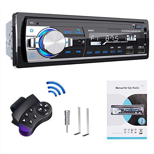 RDS Autoradio Bluetooth vivavoce, Lifelf Radio stereo 4 x 65W 1 ricevitore radio per auto DIN con lettore MP3 Telecomando WMA FM, due porte USB, supporto iOS, Android