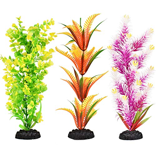 Artificial Aquarium Plants Set, Plastic Fish Tank Decoration, 3 Pack, Non-Toxic&Soft, Safe for Fish (B, 12 Inches)