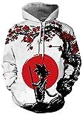 Ocean Plus Homme 3D Drôle Sweats à Capuche à Manches Longues Multicolore Unisexe Streetwear Sweat-Shirt Sportif avec Cordon (L/XL (Poitrine: 114-134 CM), Goku Soleil Rouge)