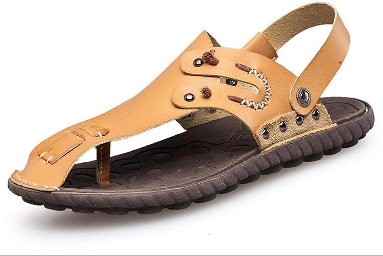 JaHGDU Men's Sandals Beach shoes Slipper Comfortable Causal Soft Massage Summer Sandals PU Leather Summer Slipper bluee Brown Soild color for Men