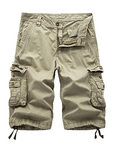 Women's Cotton Loose Fit Zipper Multi-Pockets Twill Bermuda Drawstring Women Cargo Shorts Khaki US 14