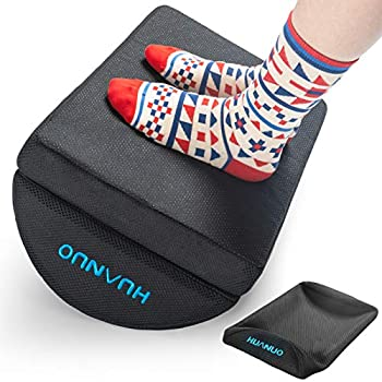 Adjustable Foot Rest - Under Desk Footrest with 2 Optional Covers for Desk Airplane Travel Ergonomic Foot Rest Cushion with Magic Tape and Massaging Micro Beads for Office Home Plane by HUANUO