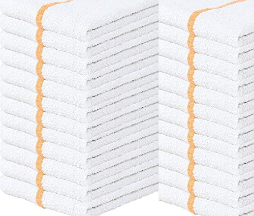 Towels N More 24 Kitchen Cleaning Towels 16x19 Bar Mop Towels 31oz Commercial Bar Mop Towels Gold Stripe