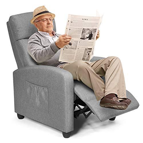 COSTWAY Relaxsessel mit verstellbaren Rückenlehne und Fußteil, Fernsehsessel Liegesessel Wohnzimmer TV Sessel 68x82x101cm (Grau)