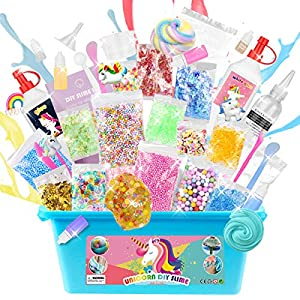ESSENSON DIY Unicorn Slime Kit for Girls Boys – 2 in 1 Slime Supplies [53 Pieces Set in One Box] Make Your Own Clear Slime, Cloud, Glitter and Foam Slime Age 6+ Year Old Girl Gifts Kids Art Craft