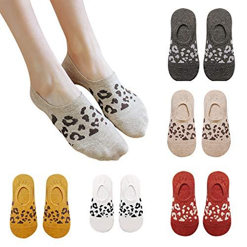 ZZBO 5Paar Damen Sportsocken Leopard Schleife Drucken Sneaker Socken Dünn Füßlinge Einfarbig Knöchel Lässig Halbsocken Baumwoll Rutschfest Kurze Socken Leichte Invisible Söckchen Mode Sportsocken