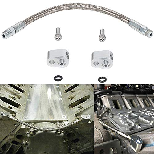 Coolant Crossover Steam port Hose Kit Throttle Body Bypass Steel Braided Tube Replace 551694H for LS Engine LSX LS1 LM7 LR4 LQ4 LS6 L59 LQ9 LM4 L33
