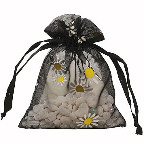 50 bolsas de organza, 16 x 23 cm, diseño de margaritas, bolsa...