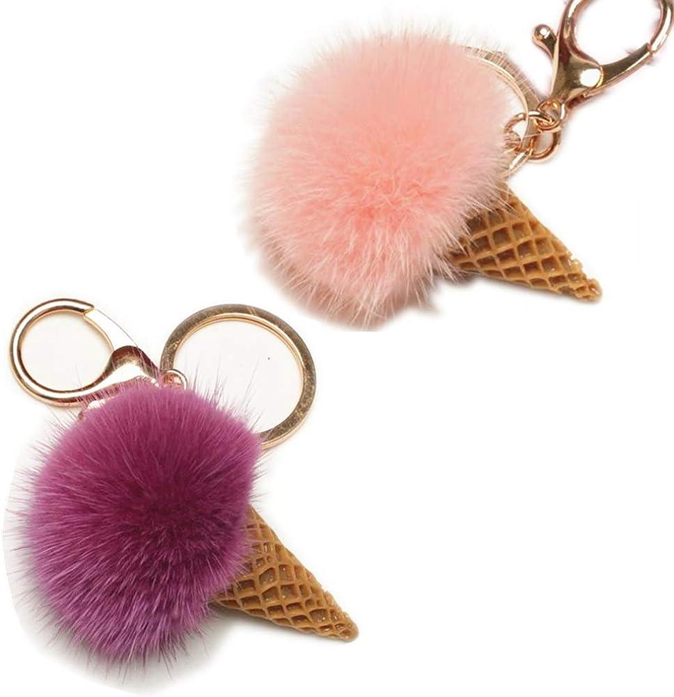 Kawaii Keychain Mink Fur Pom Pom Ice Cream Cone Keyring UU BEN Gold Ring Fluffy Fur Ball for Womens Bag 8CM