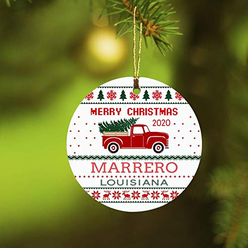 Lplpol Feliz Navidad 2020 Marrero Louisiana Ornamento, Árbol de Navidad Colgante Memento Decoración, 3 Pulgadas Cerámica Ornamento Ronda Keepsake, Feliz Navidad 2020 Regalos Ideal, TFG1235