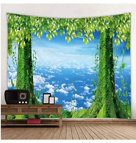 AdoDecor Blauer Himmel Grüner Kofferraum Gedruckter großer Wandteppich Hippie Wandbehang Böhmische Wandteppiche Mandala Wandkunst Dekor 150x200cm