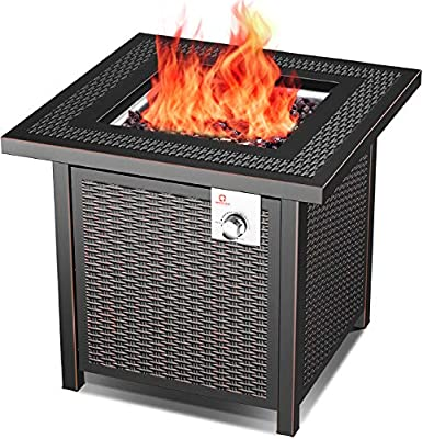 OT QOMOTOP Outdoor Propane Fire Pit Table, 28 Inch 50,000 BTU Gas Fire Table with Auto-Ignition and CSA Certification Approval, Suitable for Stone/Marble/Wooden Floor and Grassland