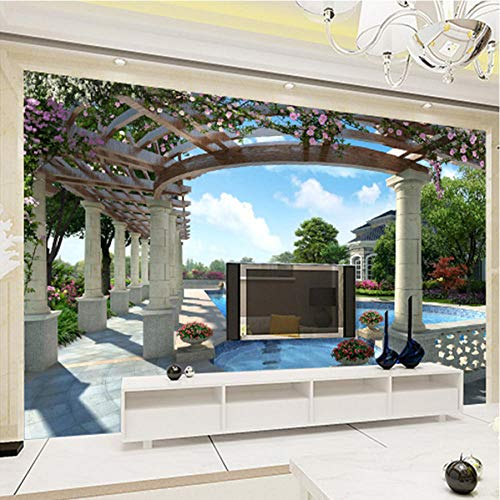 Hyiiw Benutzerdefinierte Moderne Luxus Wandbild Tapete Villa Swimmingpool Garten Wandbild Fototapete Für Wände Home Decor-280X200Cm