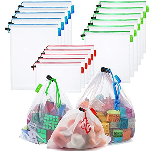 16 Pcs Mesh Small Toy Bags for Storage, 3 Sizes Reusable Mesh Drawstring Produce Bags Puzzle Bag for Kids Storage Playroom Organization, Fruits, Vegetable