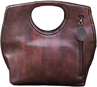 Fashion National Wind Retro Leather Handbag/Manual Brush-Vegetable-Tanned Leather Messenger Bag Wild (Color : Brown)