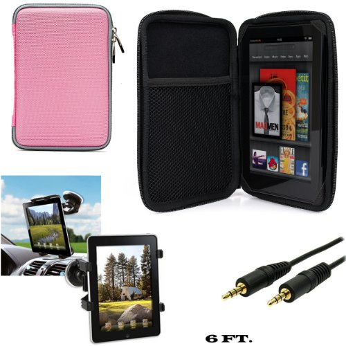 Travel Hard Nylon Lightweight Case For Datawind UbiSlate 7C+, 7Ci, 7CX, 9Cx, 7Cz, 3G7 7-inch Tablet + Auxiliary Cable + Windshield Car Mount
