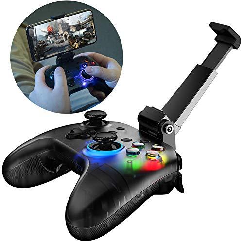 CJF Mando de Videojuegos Inalámbrico Mando PS4 Controlador de Juegos Inalámbrico con Soporte del Teléfono Móvil y Luz LED Gaming Joystick PC Ayuda (Negro)