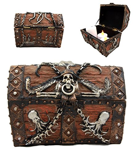 Ebros Gift Caribbean Kraken Octopus Pirate Haunted Chained Skull Decorative Treasure Chest Box Jewelry Box Figurine 5' Long Nautical Coastal Ocean Decor