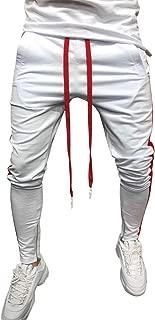 Creazrise Mens Casual Stripe Track Pants Skinny Fit Stretch Drawstring Elastic Slim Trouser Sweatpants (Black,L)