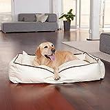 Smoothy Hundekorb aus Leder; Hunde-Körbchen; Hundebett für Luxus Vierbeiner; Beige-Weiß Größe L (106x74cm) - 3