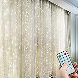 Curtain String Light, 300 LED Window Curtain String Light 4 Music Modes 8