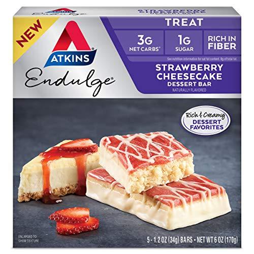 Atkins Endulge Treat Strawberry Cheesecake Dessert Bar, 6 Ounce (5 Bars)