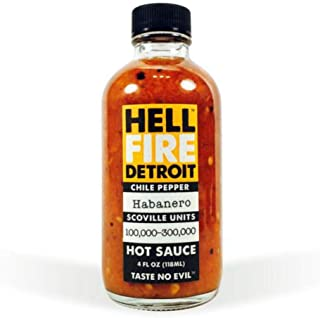 Hell Fire Detroit Hot Sauce Habanero, 4 fl oz