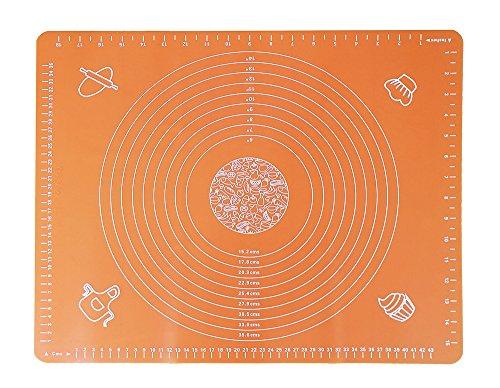 Anokay Spianatoia Grande Tappetino da Lavoro per Impastare e Stendere Pasta di Zucchero in Silicone con Scale Circolari e Rettangolari (Arancione)