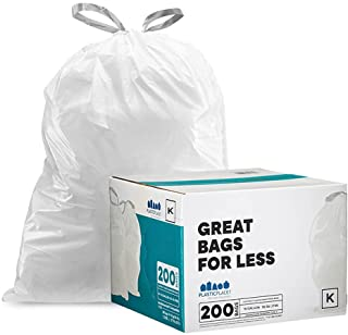 Plasticplace Custom Fit Trash Bags │ Simplehuman Code K Compatible (200 Count) │ White Drawstring Garbage Liners 10 Gallon...