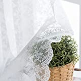 White Sheer Curtains Window Drapes for Bedroom Living Room Rod Pocket Rose Knitted Lace Retro Style Vintage to Light Filtering Airy Set of 2 Panels 84 Inch Long