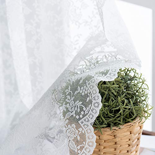 White Floral Rose Knitted Lace Sheer Curtains 63 Long - Rod Pocket Window Sheer Drapes for Living Room Curtains 52 x 63 inch Length, Set of 2 Panels