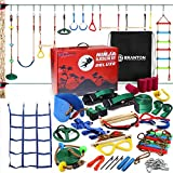 Ninja Warrior Obstacle Course for Kids Deluxe- 2 x Ninja Slackline 65' with 12 Accessories for Kids, Ninja Wheel, Trapeze Swing Plus Ladder - Become a Ninja Warrior (Ninja Slackline + Support line)