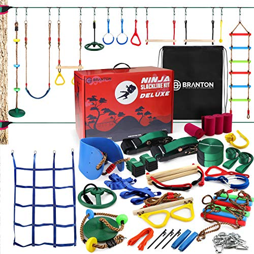 Ninja Warrior Obstacle Course DELUXE - 2X65FT Ninja Slackline with Most Complete Accessories for Kids, 2 Slacklines, Swing, Climbing rope, Swing Straps, Obstacle Net Plus, Trapeze Swing, Rope ladder