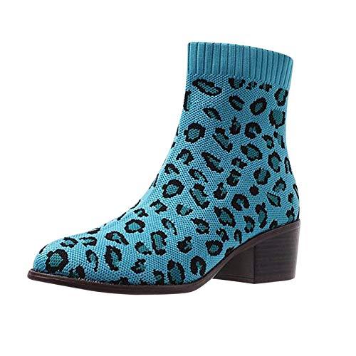 DAIFINEY Damen Winterstiefel Leopard Elastizität Stricken Kurzschaft Stiefel Ankle Boot Halbstiefel Stiefelette Bootie Schlupfstiefel Schneestiefel Winterschuhe(1-Grün/Green,40)
