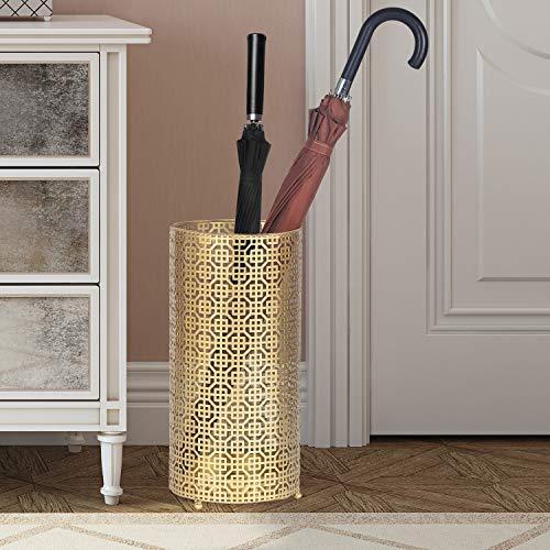 Homebeez Metal Umbrella Stand Racks Gold Round Umbrella Holder for Canes Walking Sticks HomeOffice Gold