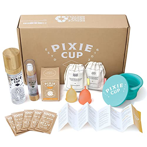 Pixie Menstrual Cup Starter Kit - Best Way to Learn Period Cups - Perfect for Beginners - Tampon and Pad Alternative - Everything You Need in Gift Packaging