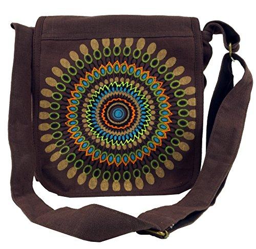GURU SHOP Schultertasche, Hippie Tasche, Goa Tasche - Braun, Herren/Damen, Baumwolle, Size:One Size, 25x25x7 cm, Alternative Umhängetasche, Handtasche aus Stoff