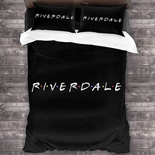 QWAS Riverdale Riverdale - Juego de cama (funda nórdica de 100% microfibra, impresión digital 3D, suave y cómoda (L2,135 x 200 cm + 80 x 80 cm)