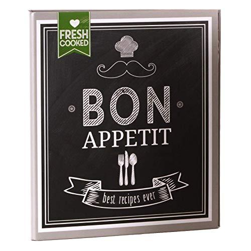 goldbuch 69036 Rezeptebuch Bon Appetit, Rezepte Ordner mit 2-Ring-Mechanik, Erweiterbar, Einband laminierter Kunstdruck, 25 bedruckte Blätter, 21 x 22,5 cm