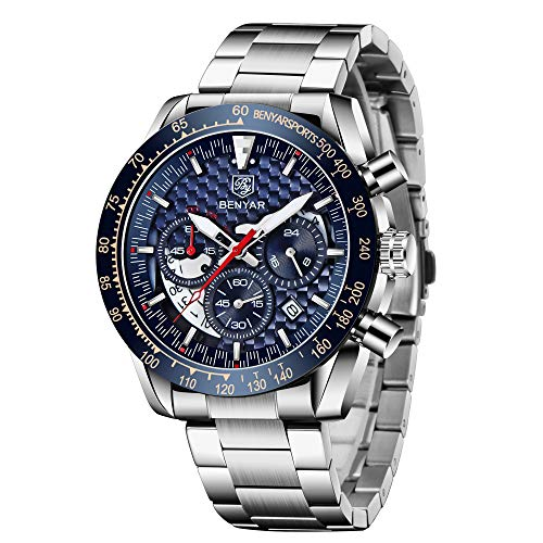 BY BENYAR Relojes Hombre Cuarzo cronógrafo Impermeable Business Casual Deporte Reloj de Pulsera