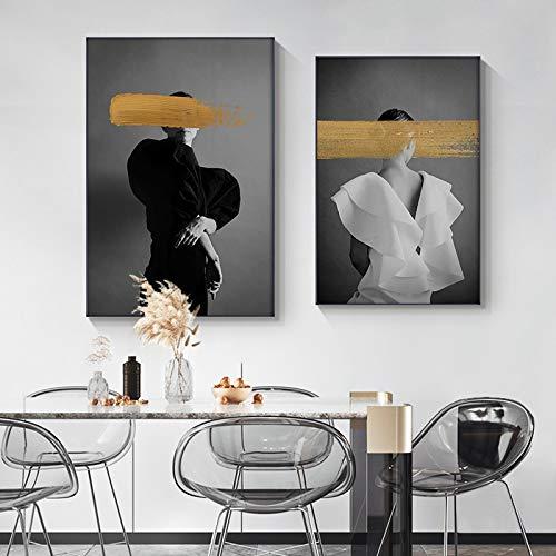 Gymqian Carteles e Impresiones de Lienzo de Mujer Abstracta Pinturas de Moda Imágenes artísticas de Pared para Sala de Estar Decoración Moderna para el hogar Mural 45x60cmx2 Sin Marco