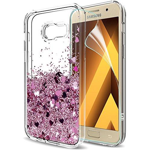 LeYi Compatible with Funda Samsung Galaxy A3 2017 con HD Protectores de Pantalla,Silicona Purpurina Carcasa Transparente Cristal Bumper Telefono Gel TPU Fundas Case Cover para Movil A3 2017 Oro Rosa