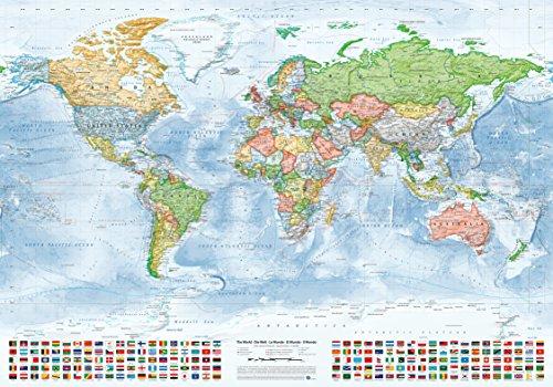 J.Bauer Karten Politische Weltkarte, 100x70 cm, englisch, Stand 2018