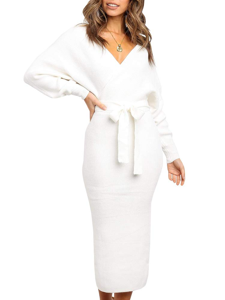 Sweater Dress - Women V Neck Faux Wrap Long Sleeve Knit Dress