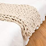 clootess Chunky Knit Blanket Chenille Throw - Warm Soft Cozy for Sofa Bed Boho Home Decor (Beige 40x40 in)