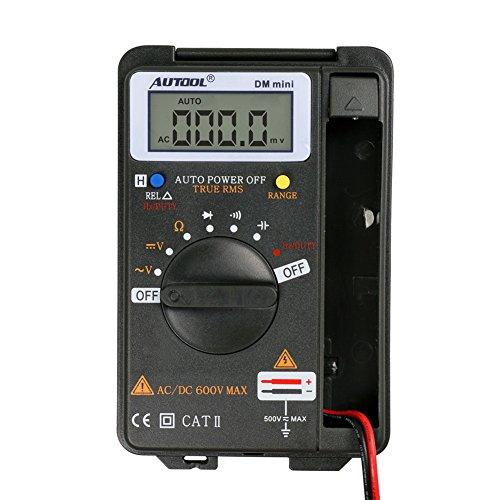 Auto multímetro digital Amperímetro tulanauto DM Mini DMM integrado Personal Handheld Pocket Mini multímetro digital Amperímetro comprobador de rango automático