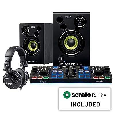 Hercules DJ Starter Kit   Starlight USB DJ Controller with Serato DJ Lite software, 15-Watt monitor speakers, and sound-isolating headphones by Hercules